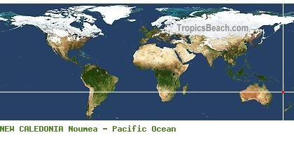 NEW CALEDONIA and Noumea map with GPS beach latitude and longitude